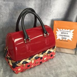 FURLA CANDY BAG WITH WEAVED BAMBOO BOTTOM EUC